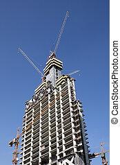 doha, site, district, en ville, milieu, construction, gratte-ciel, est, qatar