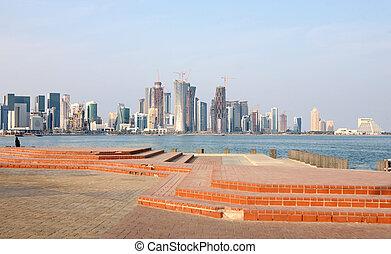 Doha skyline - A view across Doha Bay, Qatar, towards the...