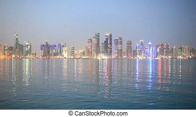 Doha skyline at dusk, Qatar