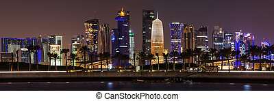 Doha skyline at night, Qatar, Middl
