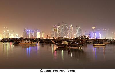 Doha skyline at night, Qatar, Middle East