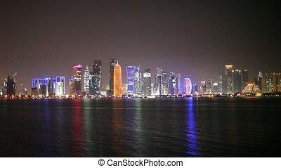 Doha skyline at night, Qatar - Doha skyline at night, Qatar,...