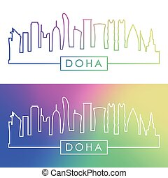 doha, skyline., barwny, linearny, style.
