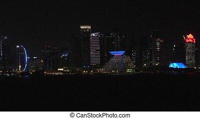 Doha skyline by night