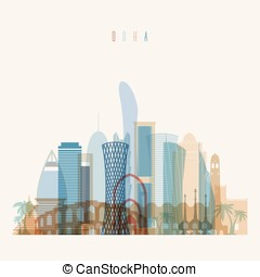 Doha skyline detailed silhouette.