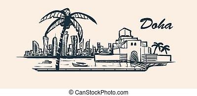 Doha skyline, hand-drawn sketch vector illustration. Museum of Islamic Art.