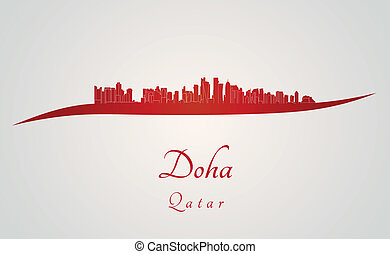 Doha skyline in red and gray background in editable vector...
