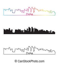 Doha skyline linear style with rainbow in editable vector...