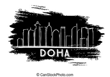 Doha Skyline Silhouette. Hand Drawn Sketch.