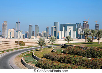 Doha skyline - A view of the emerging skyline in Doha, the...