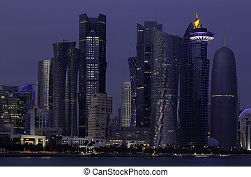 Doha skyscrapers at dusk - Towers in the business district...