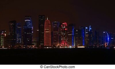 Doha skyscrapers at night - TIME LAPSE: The Capital city of...
