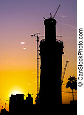 Doha tower construction silhouette