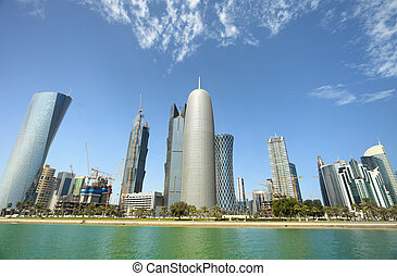 Doha towers - An optically distorted wide-angle view of the...