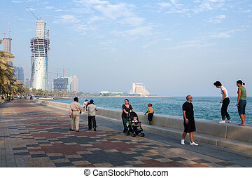 Doha towers rising - DOHA, QATAR - NOVEMBER18, 2007: Expats ...