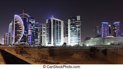 doha, umiejscawiać, śródmieście, środek, zbudowanie, wschód, night., katar