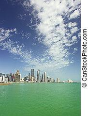 doha, város égvonal, függőleges