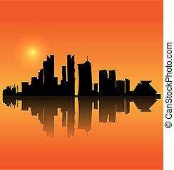 Doha vector silhouette skyline - Doha (Quatar) vector...