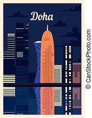 doha, vendimia, illustration., vector, cartel, ciudad, retro...