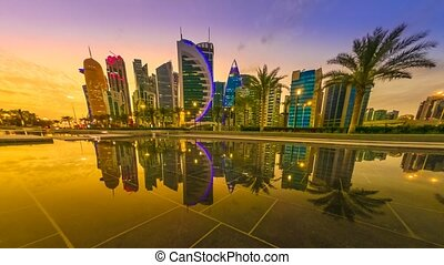Doha West Bay reflection - TIME LAPSE: Scenary of Doha West...