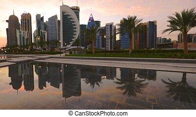 doha, westen, bucht, skyline