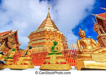 doi, phra, suthep, ellos, chiangmai, tailandia, pagoda, dorado, wat
