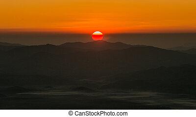 doi, punto, chiangmai, angkhang, tailandia, salida del sol, vista