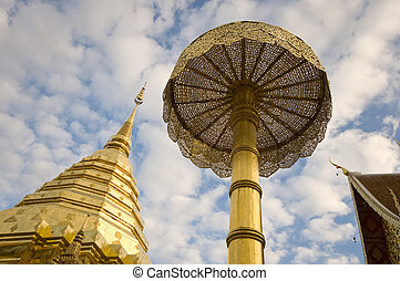 An horizontal photographic image of part of the Doi Suthep Buddhist temple in Chiang Mai Thailand