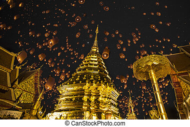 Doi suthep, golden pagoda and yeepeng in new year celebration fastival.