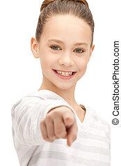 doigt, adolescente, elle, pointage