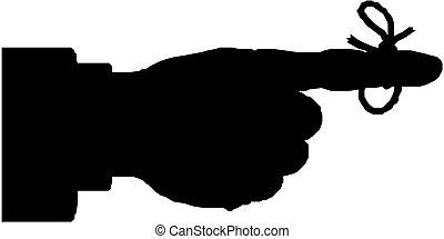 doigt, attaché, rappel, silhouette