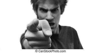 doigt, fâché, vous, pointage, homme