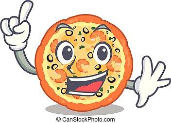 doigt, fruits mer, planche, au-dessus, dessin animé, pizza