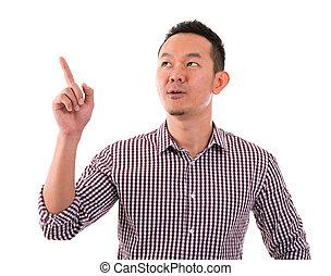 doigt, mâle, haut, pointage, asiatique