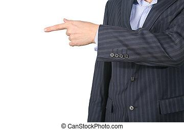 doigt, pointage homme, business, sien