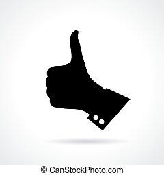 doigt, pouce haut, signe