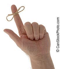 doigt, rappel, ficelle, main
