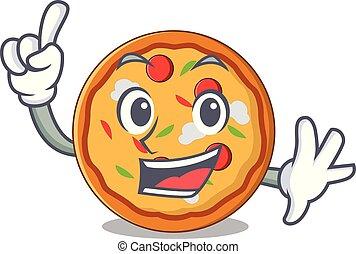 doigt, style, pizza, dessin animé, mascotte