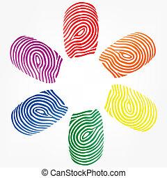 doigt, vecteur, caractères