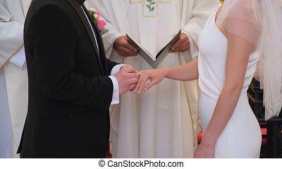 doigts, church., anneaux, mettre, catholique