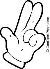 doigts, dessin animé, deux