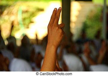 doigts, haut, pointage, deux