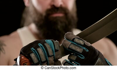 doigts, machete., gants, sien, noir, long, lame, homme, ...