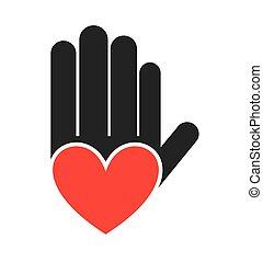 doigts, main, arrêt, handprint, icône