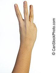 doigts, main, trois, air