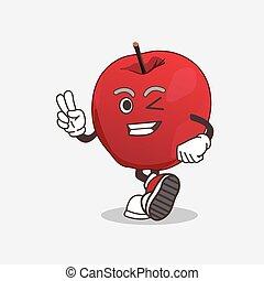 doigts, pomme, mascotte, caractère, dessin animé, deux