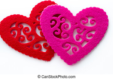 Doilies - Heart shape doilies on white background.