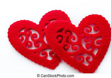 Doilies - Heart shape doilies on white background.