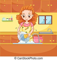 Girl doing dishes in the kitchen