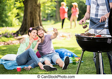 Doing grill in the park